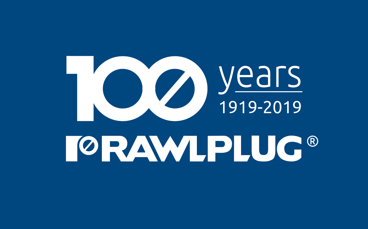 Rawlplug Logo 100 years - blue background
