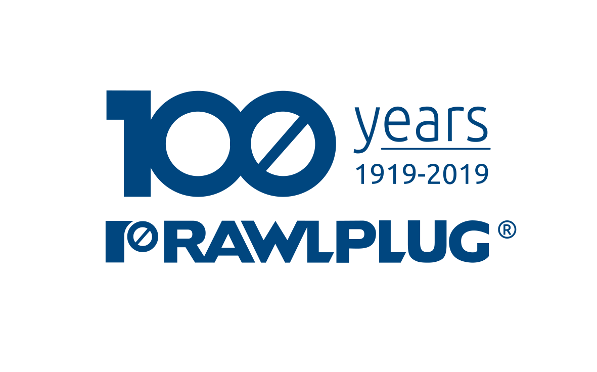 Rawlplug Logo 100 years - blue transparent