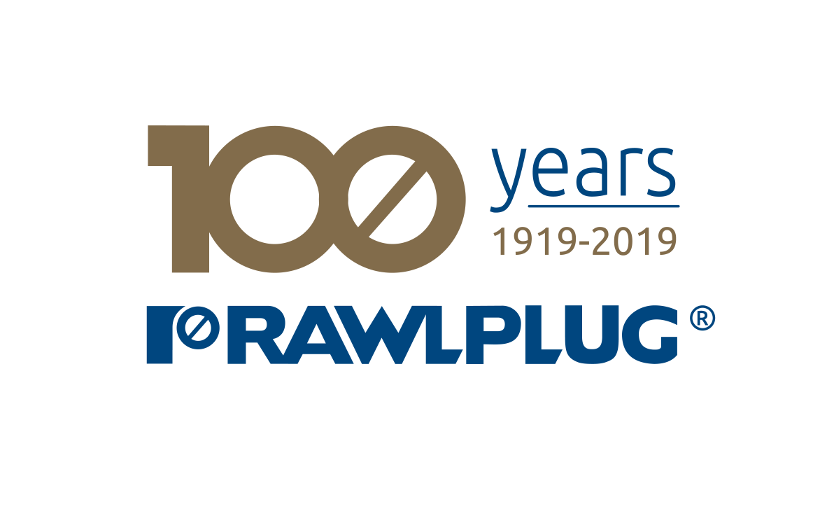 Rawlplug Logo 100 years - gold transparent